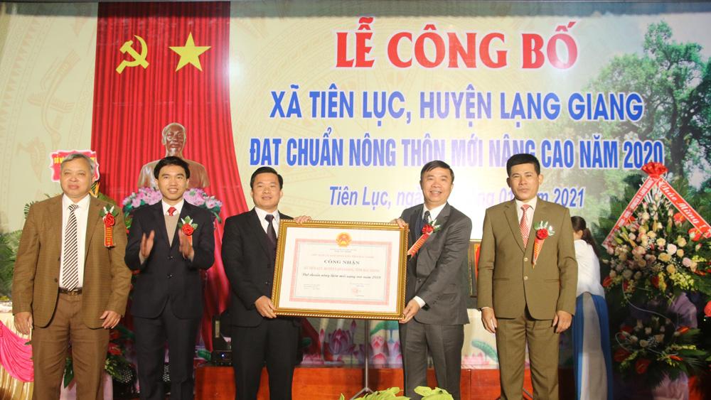 Xã Tiên Lục (Lạng Giang) đón bằng công nhận nông thôn mới nâng cao