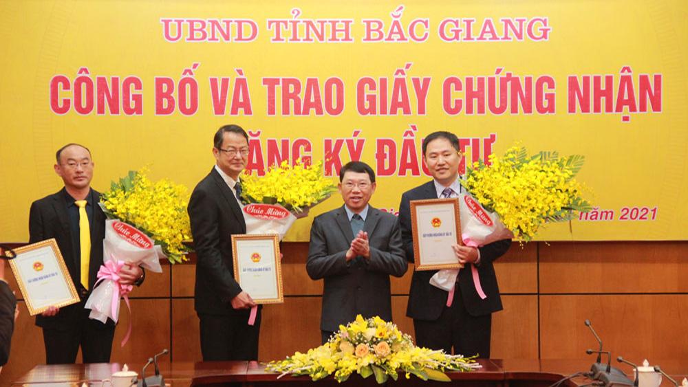 Bắc Giang, Trao giấy chứng nhận, đăng ký đầu tư, cho 4 dự án trị giá, gần 13 nghìn tỷ đồng