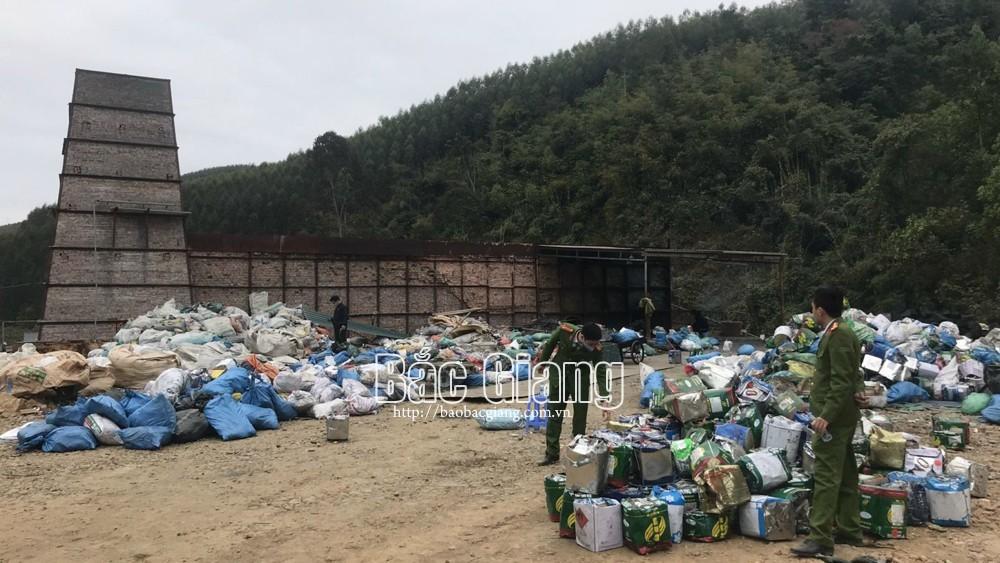 Bắc Giang, Xác định, có hơn ,37 tấn chất thải, nguy hại ,bị đốt trái phép, Lục Nam, công an