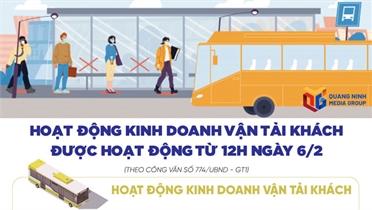 Quảng Ninh cho phép dịch vụ vận tải hành khách hoạt động trở lại từ 12 giờ ngày 6/2