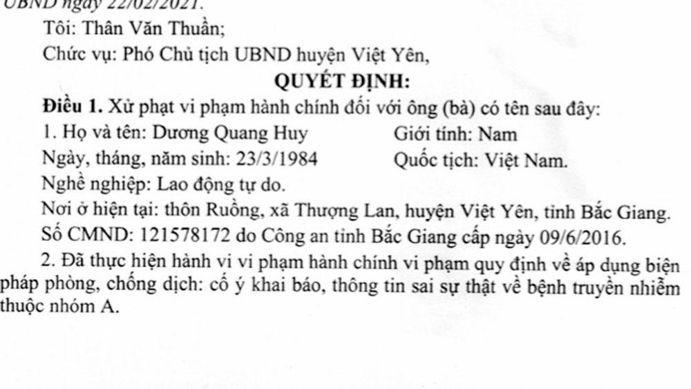 Bắc Giang, Việt Yên, phòng, chống dịch Covid-19, xử phạt