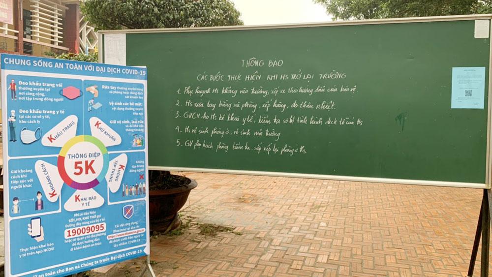 Học sinh, giáo dục, Bắc Giang, đi học trở lại, y tế, phòng dịch