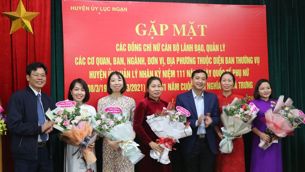 BTV Huyện ủy Lục Ngạn gặp mặt cán bộ lãnh đạo nữ nhân kỷ niệm Ngày Quốc tế phụ nữ