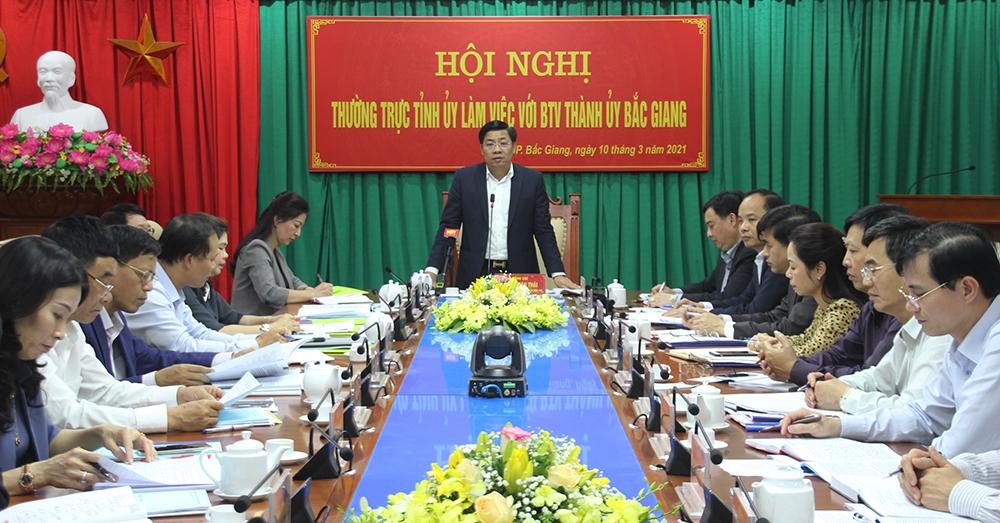 Bí thư Tỉnh ủy Dương Văn Thái: Sớm xây dựng nghị quyết chuyên đề về phát triển TP Bắc Giang