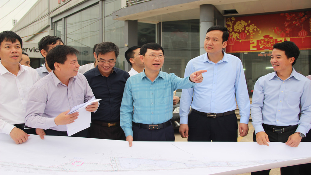 Chairman of provincial People's Committee, Bac Giang province, speeding up, progress of key projects, frontage road