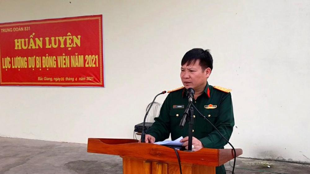 Bắc Giang: Hơn 140 quân nhân dự bị tham gia huấn luyện tại Trung đoàn 831
