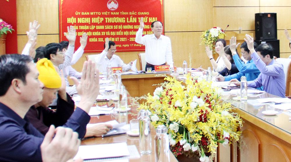 Đồng chí Trần Công Thắng chủ trì hội nghị hiệp thương lần thứ hai thỏa thuận, lập danh sách sơ bộ người ứng cử ĐBQH khóa XV và đại biểu HĐND tỉnh, nhiệm kỳ 2021-2026.
