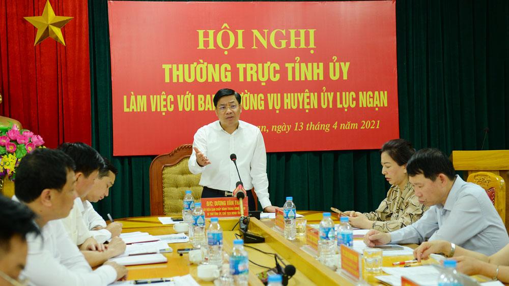 Bí thư Tỉnh ủy Dương Văn Thái: Lục Ngạn tập trung phát triển kinh tế xanh, lấy nông nghiệp là trọng tâm gắn với các loại hình du lịch