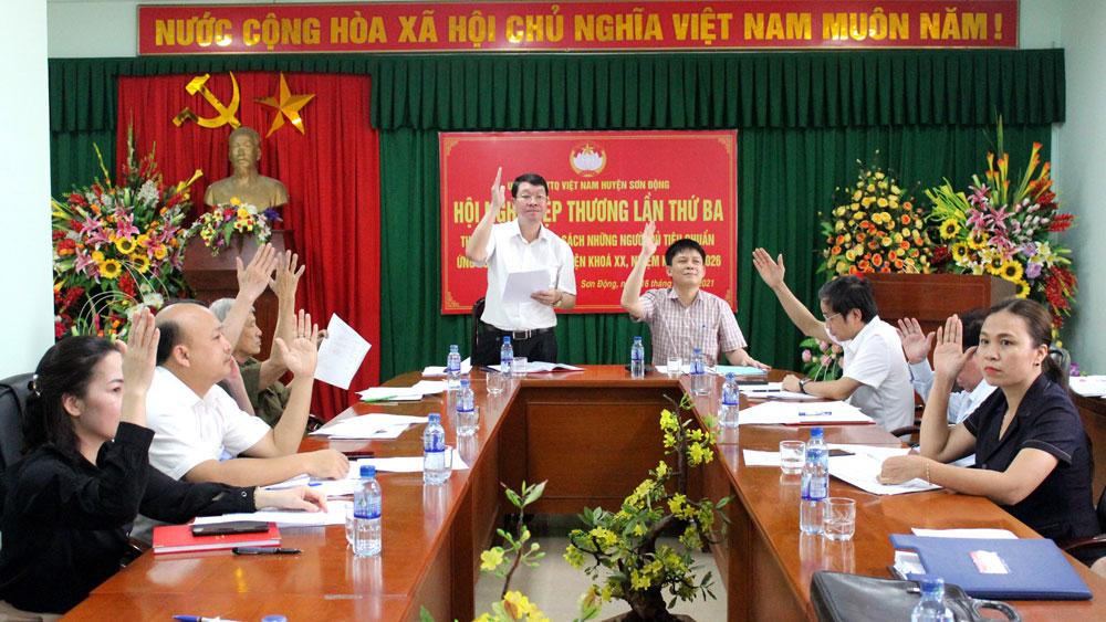 Hiệp thương lần ba, huyện Sơn Động chốt danh sách 57 người ứng cử đại biểu HĐND huyện khóa XX, nhiệm kỳ 2021-2026