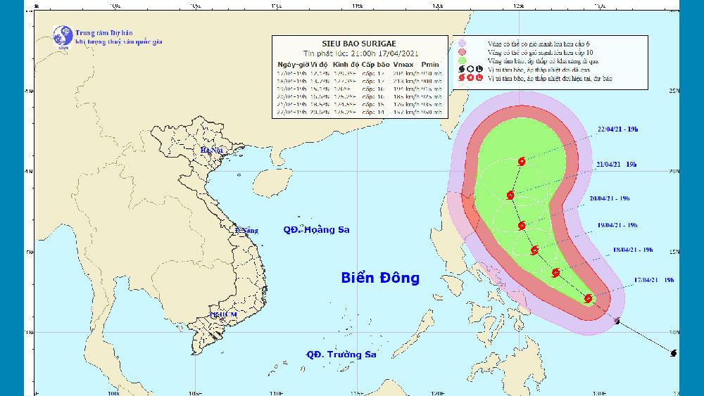 Siêu bão SURIGAE đang hoạt động ở vùng biển miền Trung Philippines