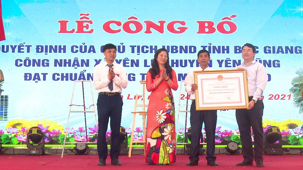 Yên Dũng, xã Yên Lư, đạt chuẩn, nông thôn mới
