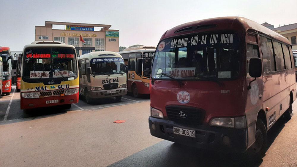 Bắc Giang, Dừng hoạt động, vận tải, hành khách, đến một số, địa phương