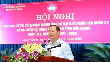 Phó Chủ tịch Thường trực UBND tỉnh Mai Sơn và các ứng cử viên ĐBQH, HĐND tỉnh tiếp xúc cử tri Lục Ngạn