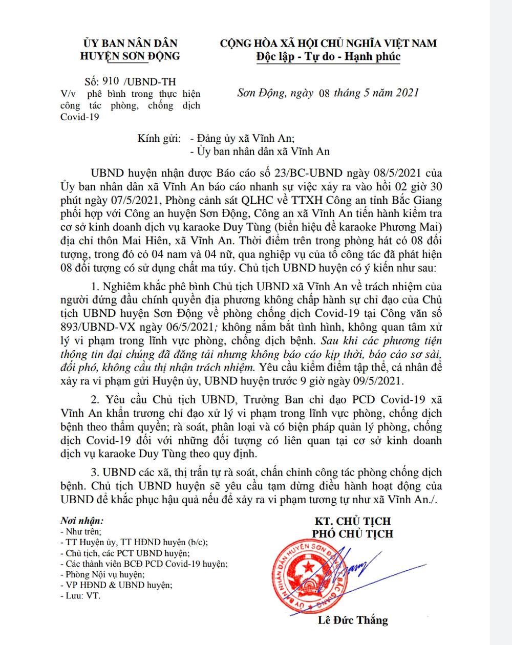 phê bình chủ tịch, karaoke; covid-19; Sơn Động; Bắc Giang