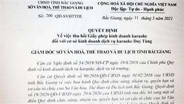 Bắc Giang: Thu hồi giấy phép cơ sở kinh doanh karaoke Duy Tùng
