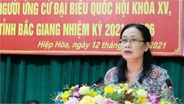 Các ứng cử viên ĐBQH và HĐND tỉnh tiếp xúc cử tri huyện Hiệp Hòa