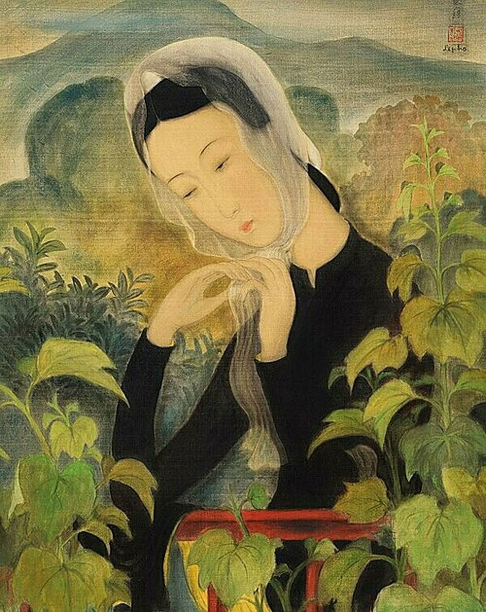 Christie, Le Pho masterpiece, Young Lady Tying Her Scarf, gouache work, Pho's signature,  prominent painter