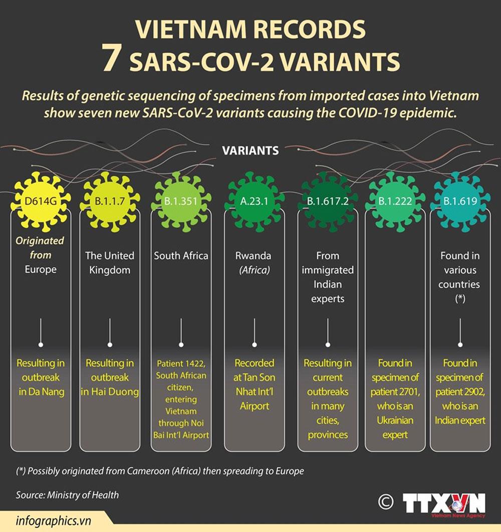 Vietnam, 7 SARS-CoV-2 variants, Covid-19 pandemic, community transmission, genetic sequencing of specimens