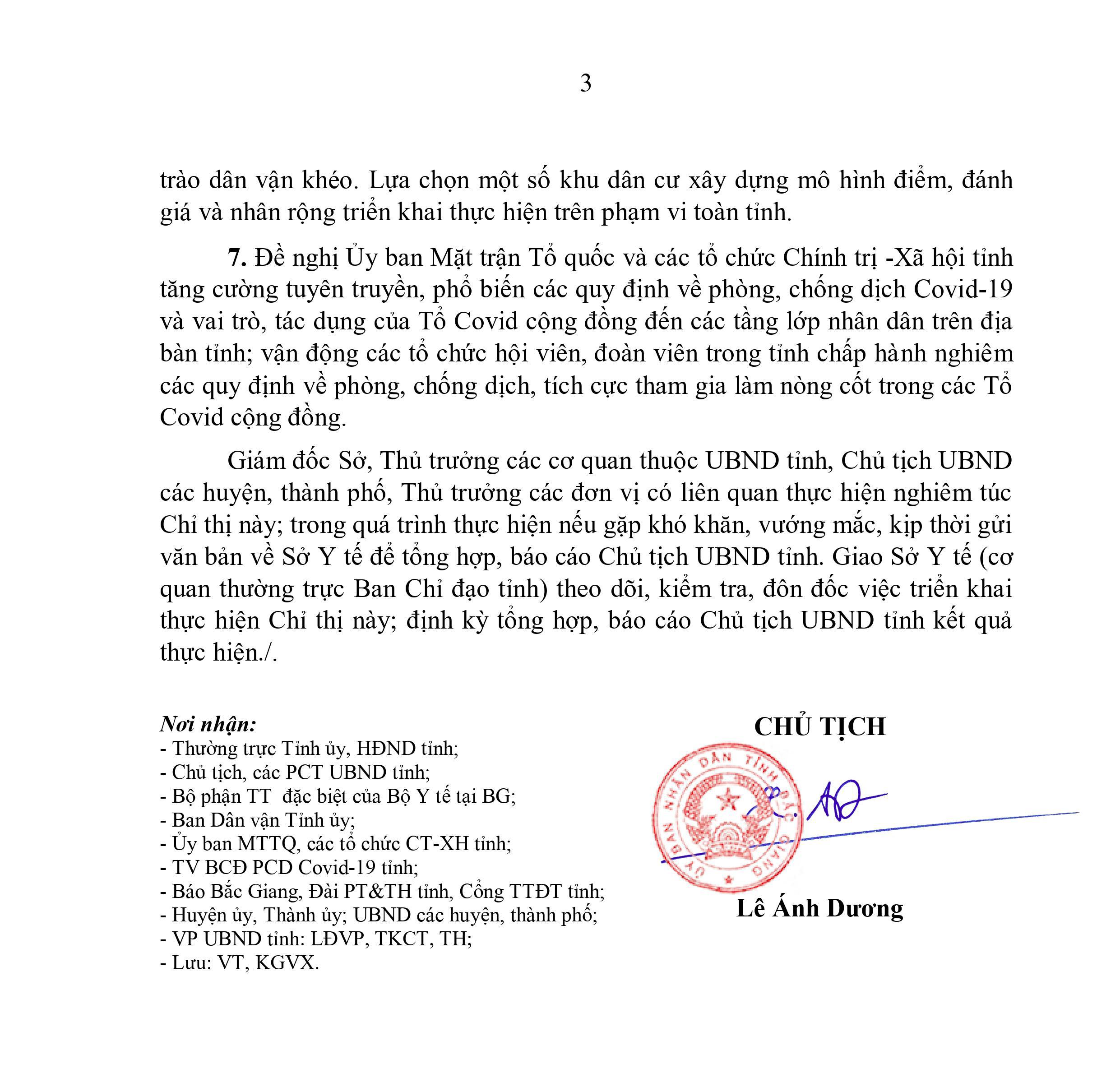 Bắc Giang, Chỉ thị, Chủ tịch UBND tỉnh, Covid 19