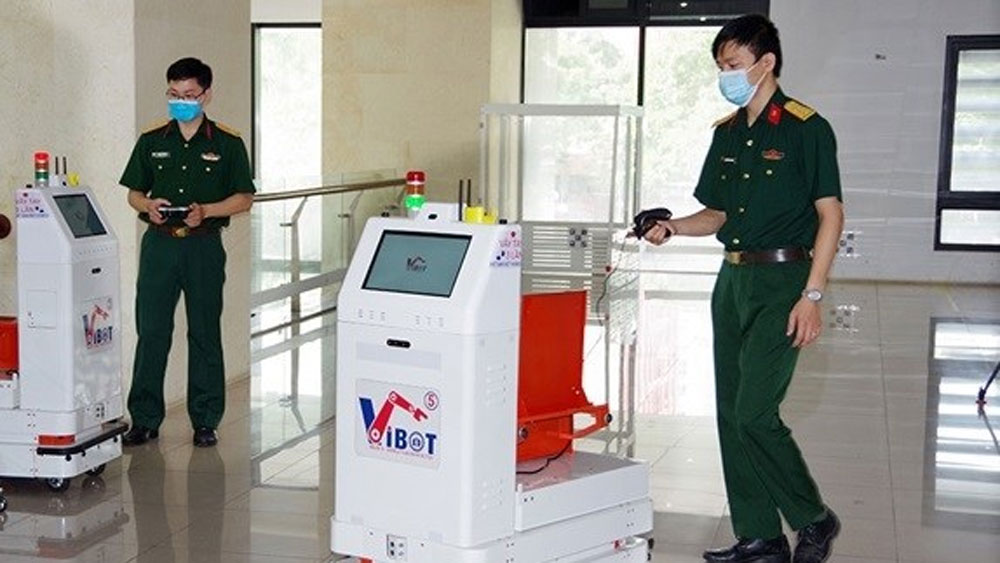 Military-developed robot, sent to Bac Giang, Covid-19 fight, Covid-19 pandemic, medical robot, current largest pandemic hot spot