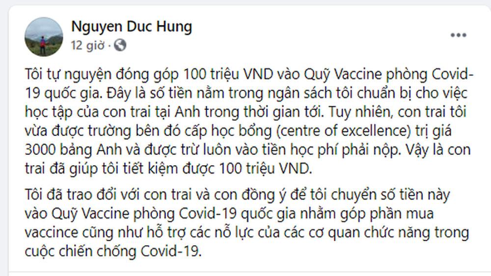 Chuyện về hai bố con, tặng 100 triệu đồng, Quỹ Vắc xin phòng Covid-19