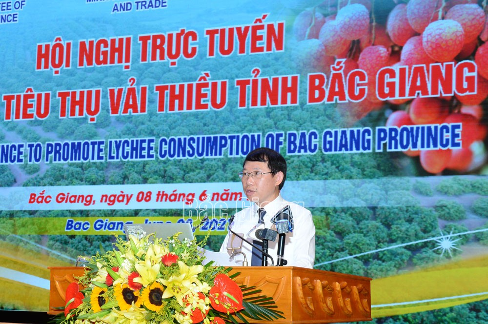 Bac Giang province, organizes teleconference, promote lychee consumption, Luc Ngan lychee, Covid-19 pandemic