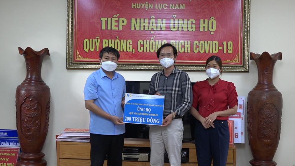 Lục Nam, tiếp nhận,  ủng hộ, Quỹ Vắc Xin, phòng dịch bệnh Covid-19, Bắc Giang