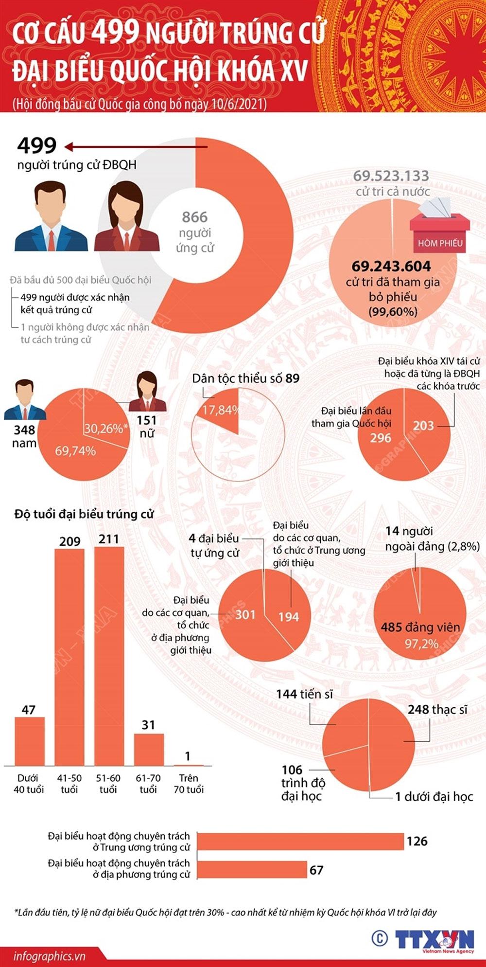 Cơ cấu, 499 người trúng cử, đại biểu Quốc hội khóa XV