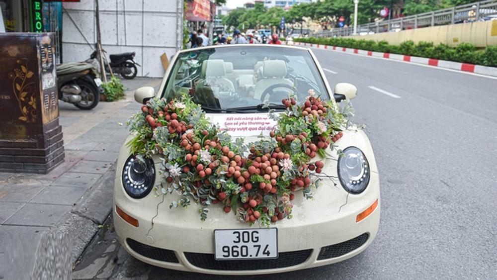 Chiếc xe rước dâu, kết... vải thiều Lục Ngạn, gây xôn xao mạng, xã hội