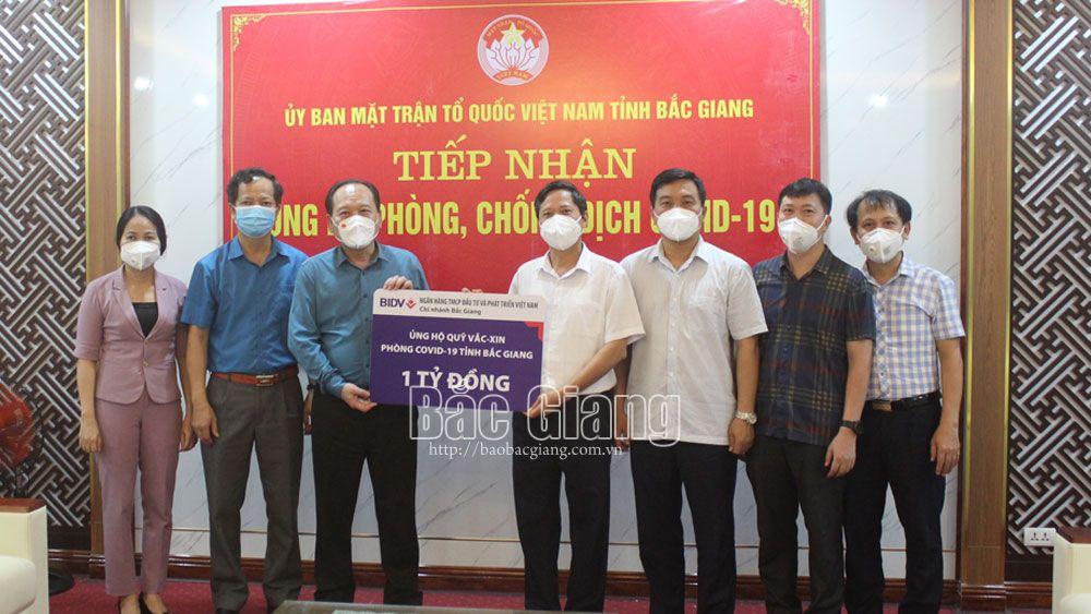 BIDV Chi nhánh Bắc Giang : Ủng hộ 1 tỷ đồng cho Quỹ Vắc - xin phòng, chống Covid-19