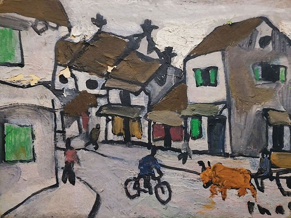 Bui Xuan Phai's paintings, auctioned in Singapore, late Vietnamese painter, cardboard paintings, best-known artists