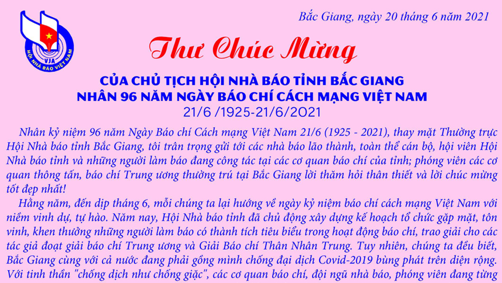 Chủ tịch Hội Nhà báo tỉnh chúc mừng các nhà báo, hội viên nhân kỷ niệm Ngày Báo chí Cách mạng Việt Nam