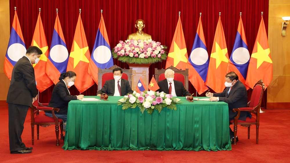 Tổng Bí thư Nguyễn Phú Trọng, Tổng Bí thư, Chủ tịch nước Lào,  chứng kiến, Lễ ký kết, văn kiện hợp tác, Việt Nam-Lào