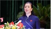 Đồng chí Lê Thị Thu Hồng phát biểu bế mạc kỳ họp thứ nhất, HĐND tỉnh Bắc Giang khóa XIX