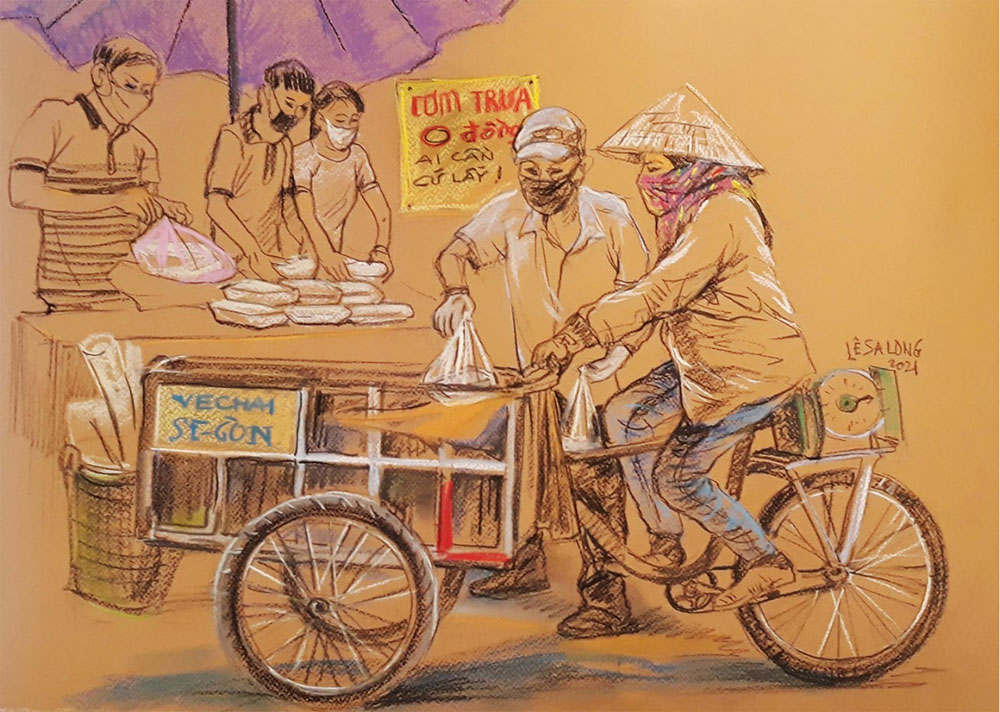 Sketchbook, Covid plight, Ho Chi Minh city, Covid-19 pandemic, courage and kindness, resurgent Covid outbreak