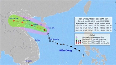 Áp thấp nhiệt đới khẩn cấp trên Biển Đông