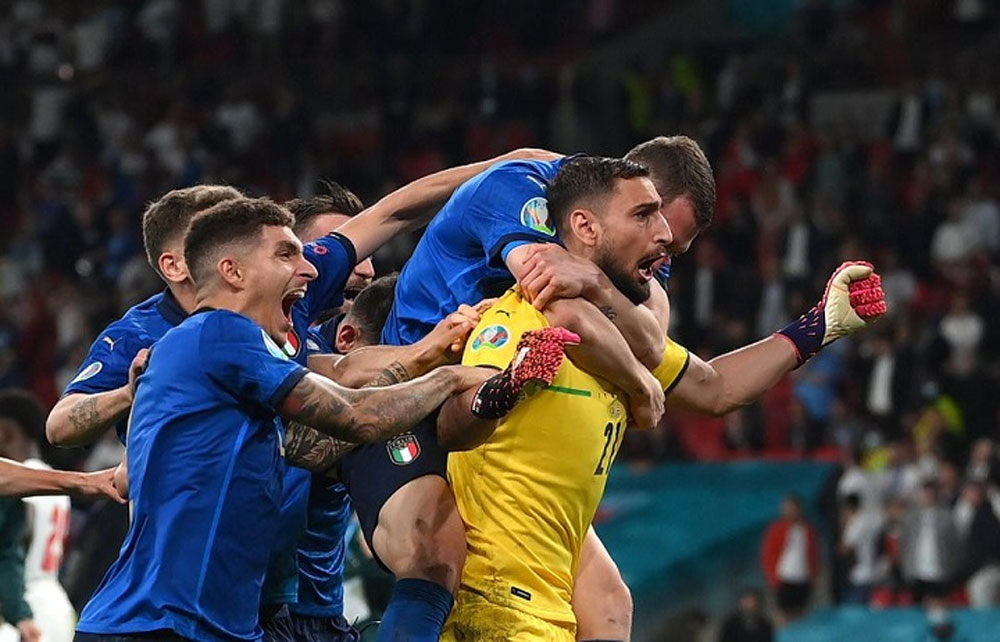 Italy, European champions, win over England, first time, penalties, shootout win