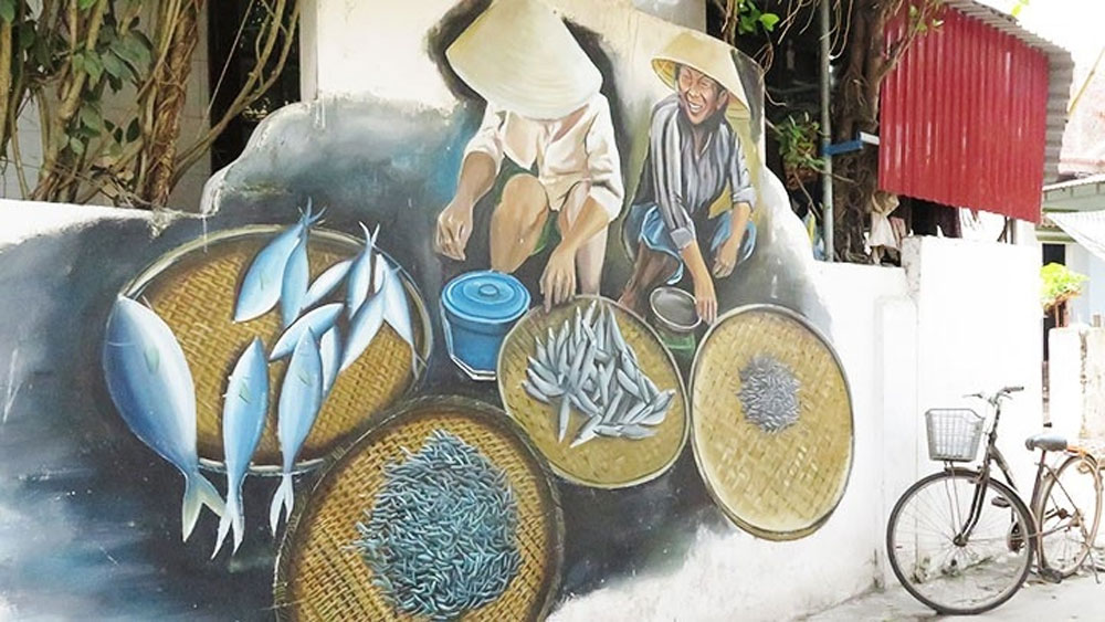 Colourful mural paintings in fishing village