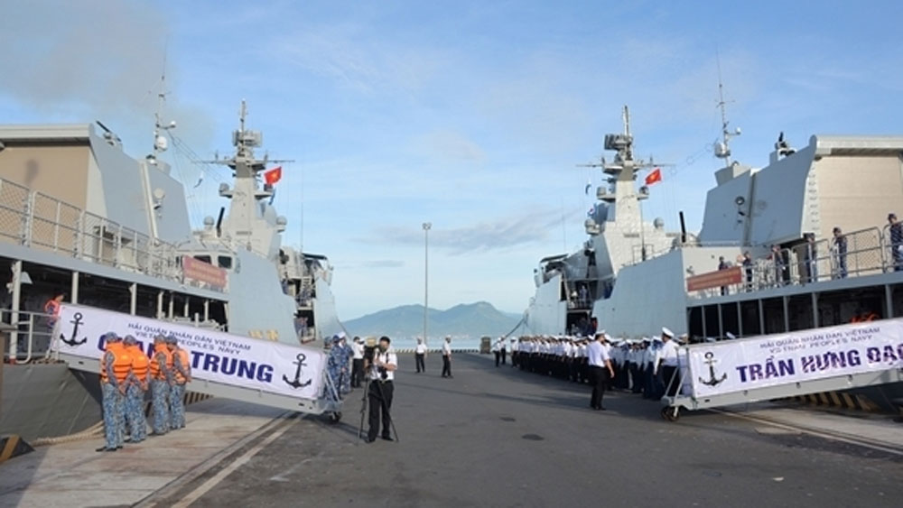 Send-off, Vietnamese naval soldiers, 2021 Army Games, Russia, Khanh Hoa province, Cam Ranh port