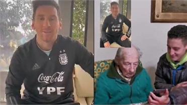 Messi tri ân CĐV 100 tuổi