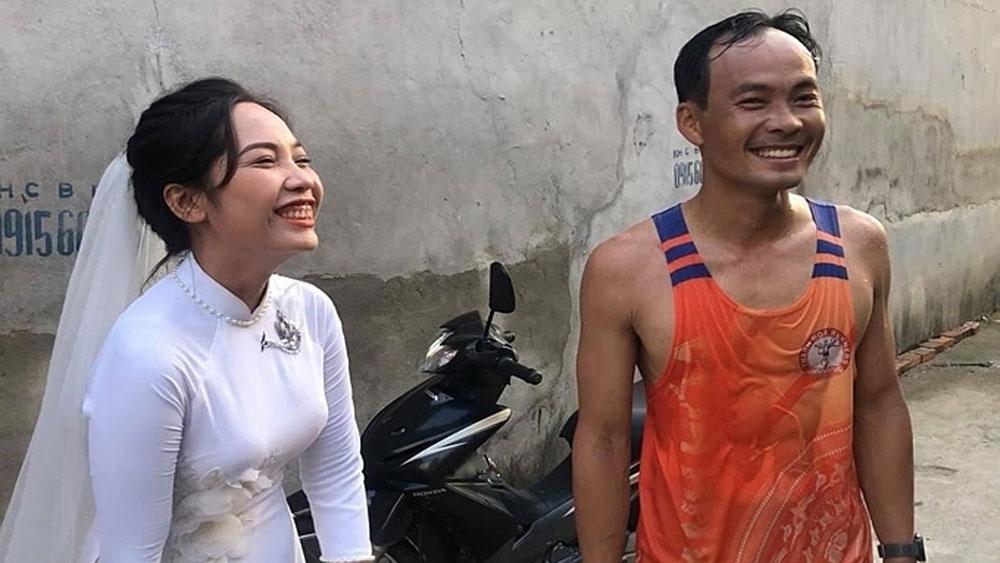 Runner couple, marathon themed wedding, Dam Thanh Tung, Le Trang, wedding celebrations
