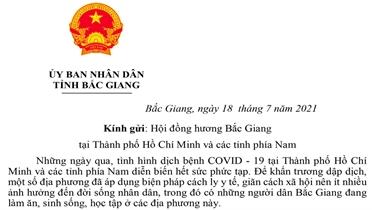 Chủ tịch UBND tỉnh Lê Ánh Dương gửi Thư thăm hỏi người Bắc Giang tại TP Hồ Chí Minh và các tỉnh phía Nam