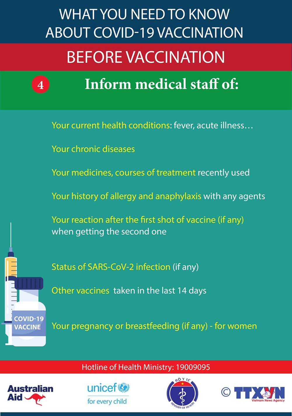 need to know, Covid-19 vaccination, medical staff,  current health conditions, allergy