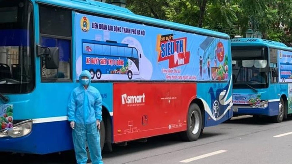 Hanoi, zero-dong supermarket bus, support pandemic-hit workers, Covid-19 pandemic, industrial parks and hostels