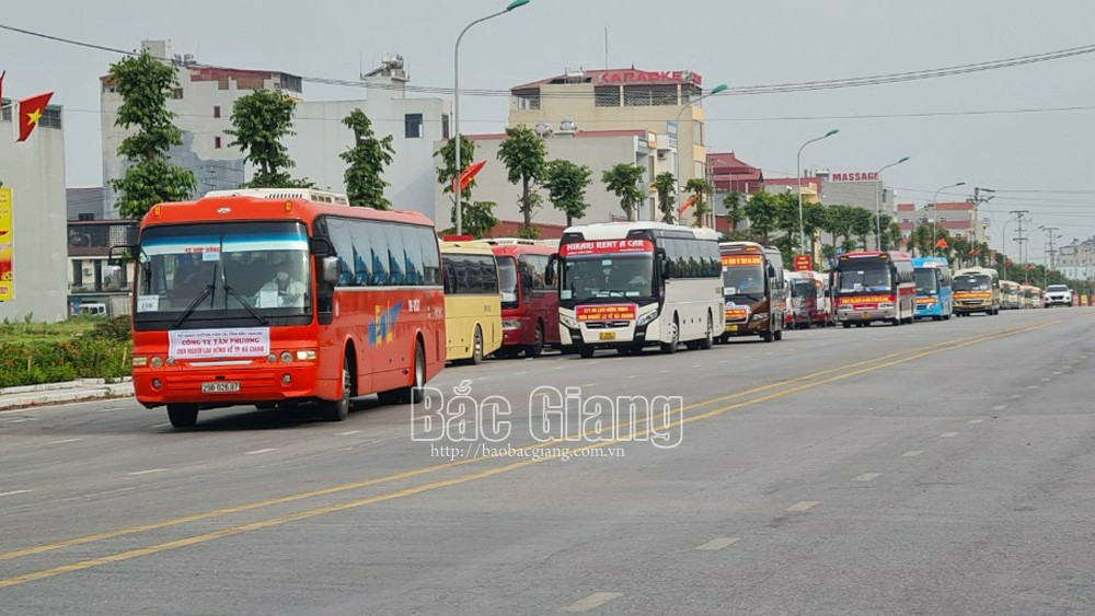 Bac Giang province, ensures traffic safety, picking up workers, residential area to business, industrial park, Covid-19 pandemic