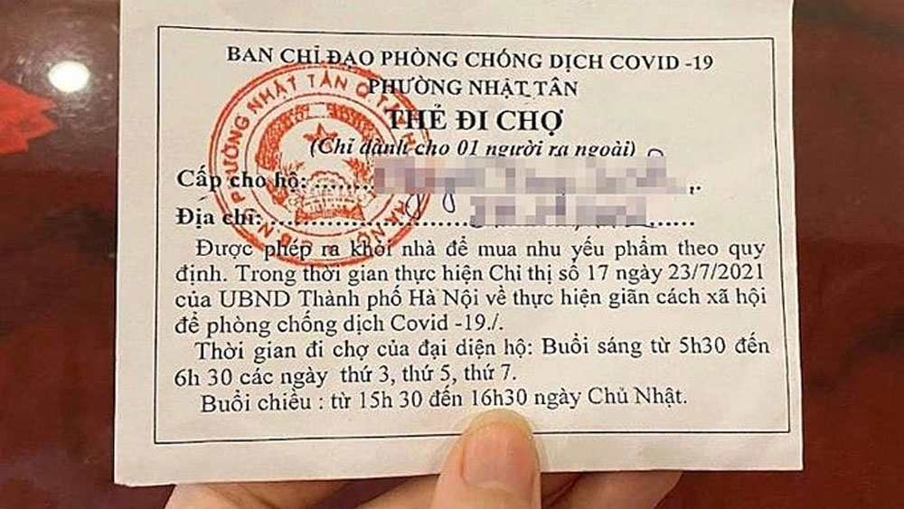 Food stamps, allocate market time, Hanoi families, Covid-19 prevention, odd and even day,  buy groceries, shopping time