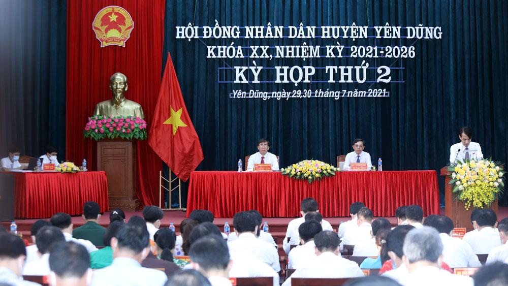 Yên Dũng, kỳ họp thứ 2, HĐND khóa XX, thông qua nhiều nhiệm vụ