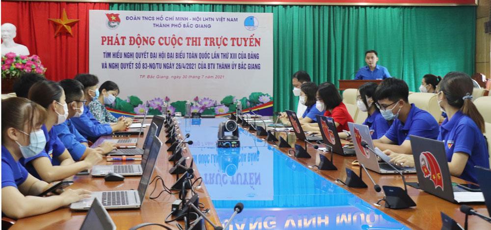 thi trực tuyến, nghị quyết, đại hội đại biểu toàn quốc, TP Bắc Giang, Bắc Giang, Thành đoàn