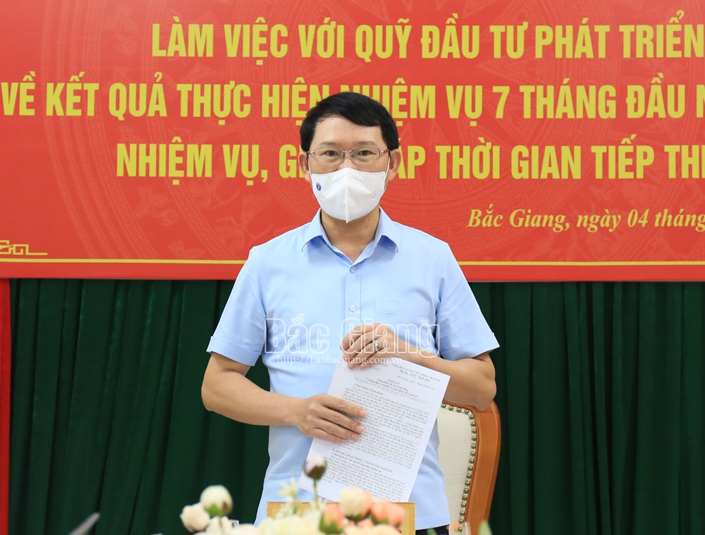 Chủ tịch UBND  tỉnh, Bắc Giang, quỹ đầu tư phát triển