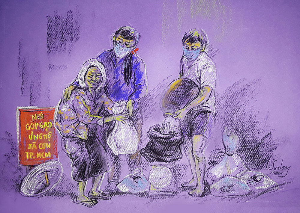 Painting of love, love for Saigon, pandemic stalks city, Covid-19 pandemic, solidarity, community share